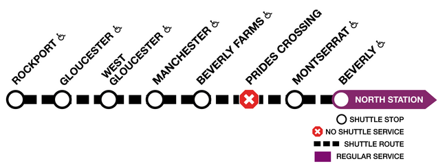 This graphic shows shuttle buses replacing trains between Beverly and Rockport with no service at Pride's Crossing.