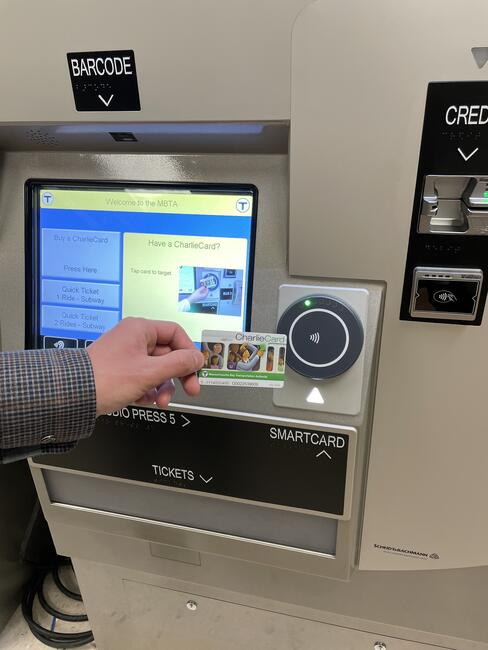 New fare vending machines have tap targets for contactless payment methods and allow riders to purchase and reload CharlieCards