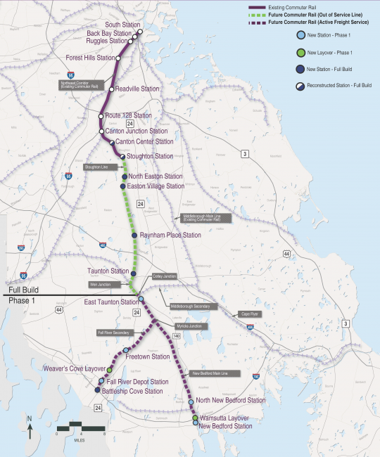 South Coast Rail map of Phase 2