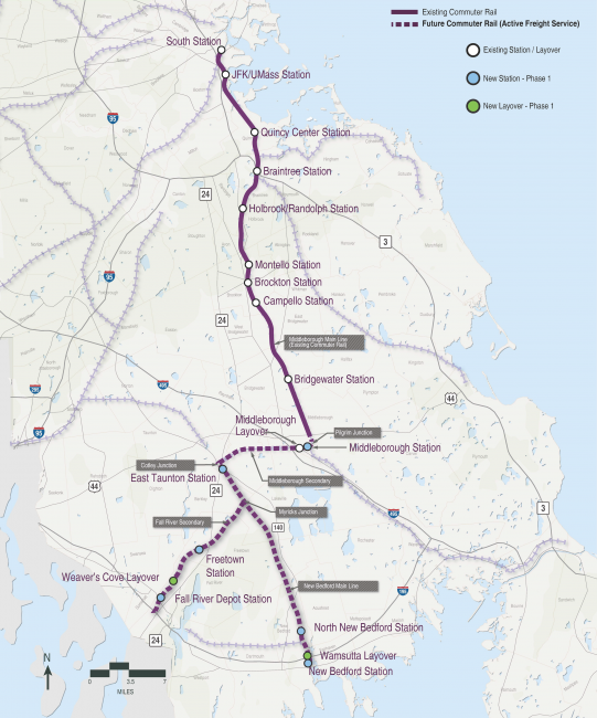 Rail map of South Coast Rail project's Phase 1