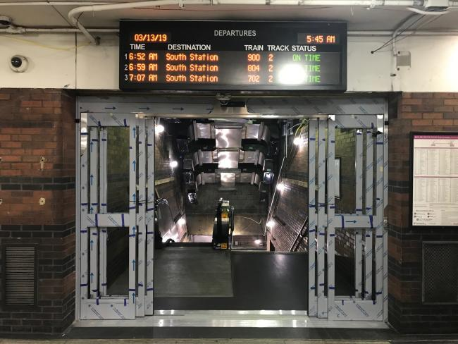 Back Bay Station doors at Track 2