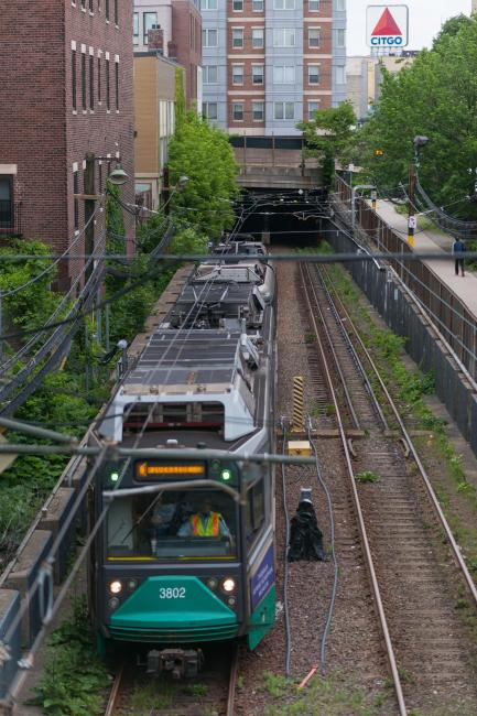 Green Line D train passes through the Fenway Portal