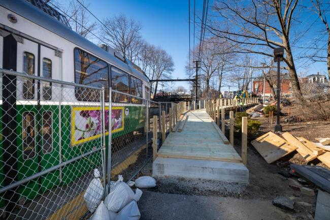 Temporary pedestrian ramp at Newton Highlands