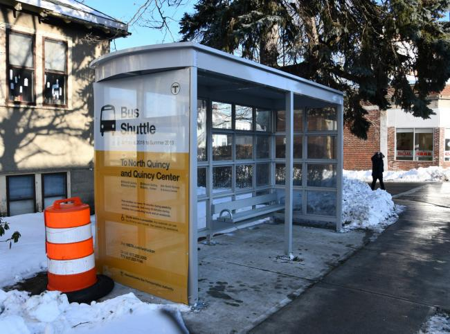 Bus shuttle shelter for Wollaston Station