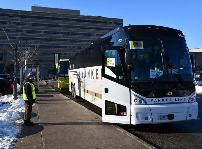 Yankee bus shuttle during Wollaston's renovation