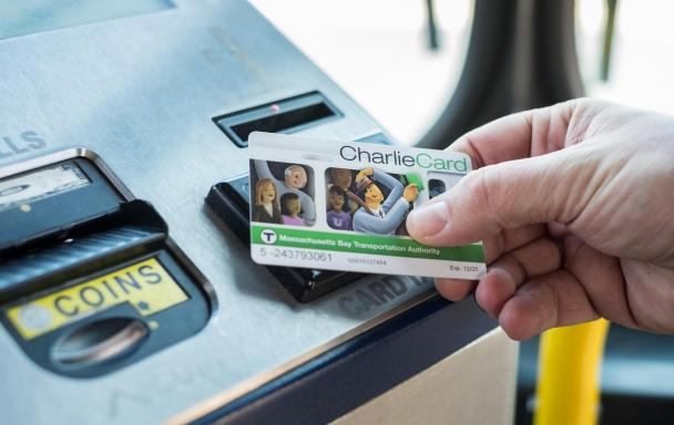 Tapping a CharlieCard on a bus