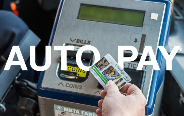 Person tapping CharlieCard at farebox with Auto-pay text overlay