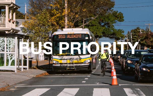 Shared bus/bike lane and separate traffic lane. Text: Bus Priority
