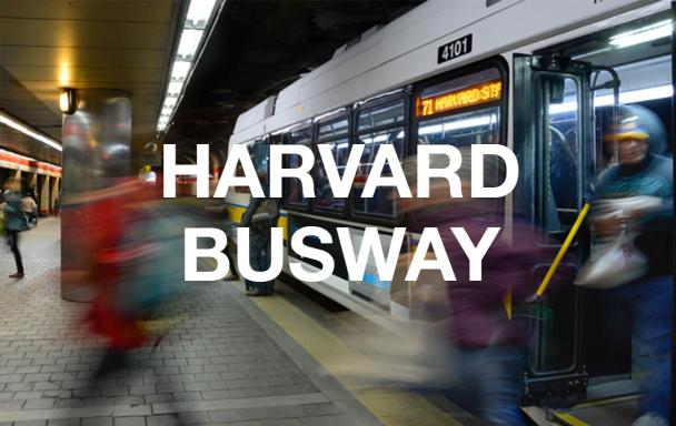 "Riders get off the bus in Harvard Station's lower busway. White text overlaid reads ""Harvard Busway."""