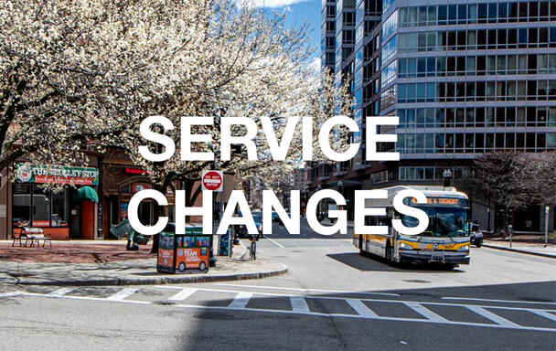 "Overlaid text reads ""Service Changes."" A bus and a flowering tree in springtime are in the background."