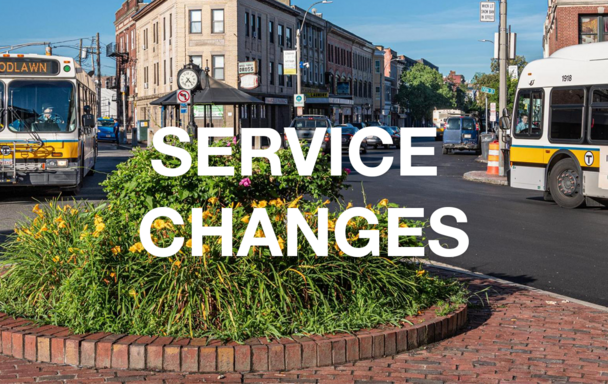 """Overlaid text reads """"Service Changes."""" Two buses and flowers in summer are in the background."""