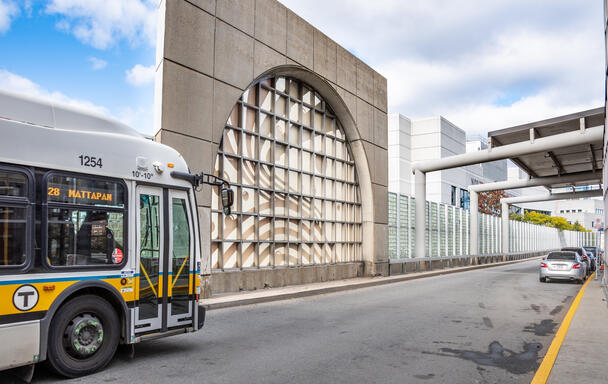 Route 28 bus enters Ruggles Station.