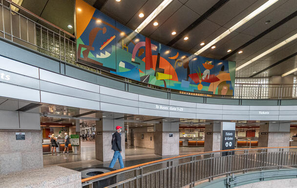 A mural painted by Todd McKie at South Station's bus terminal.