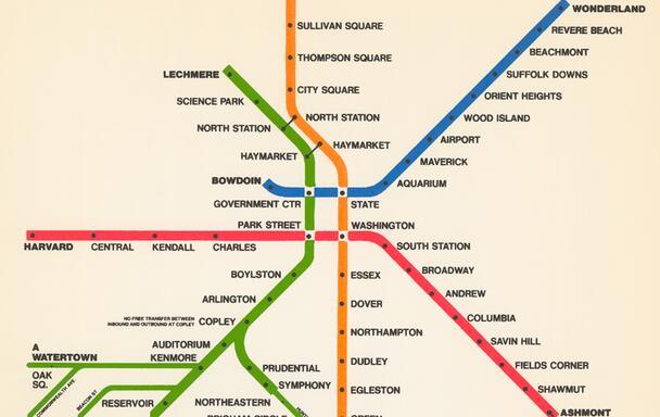 The 1965 MBTA rapid transit map.