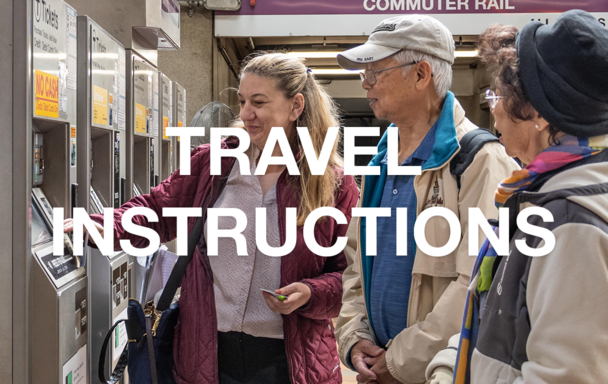 """The words """"Travel Instructions"""" over an image of a woman helping two elderly people use a ticket kiosk"""