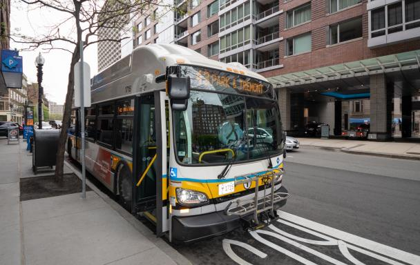 Route 43 Bus pulling up at bus stop