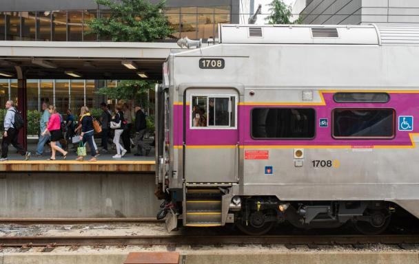Commuter Rail passengers disembark at South Station