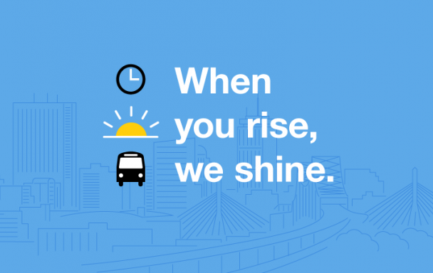 """""""When you rise, we shine."""" Icons of a clock, sunrise, and bus, against a blue background with an outline of the Boston cityscape."""