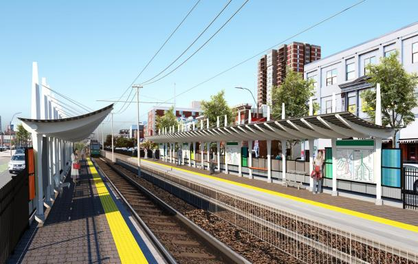 Rendering of the proposed station between Harry Agganis Way and Babcock St, with a view of the platform.