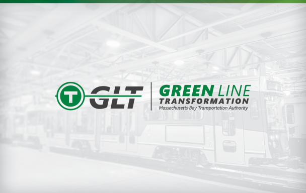 GLT logo. Green Line Transformation. Background of a new Green Line train.