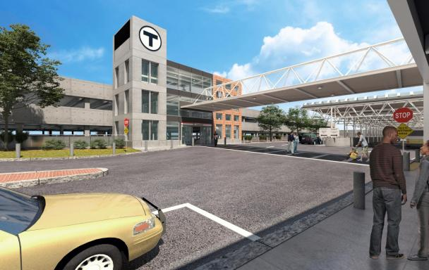 Rendering of the renovated garage Braintree station