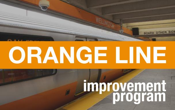 "New Orange Line Car at Wellington, with ""Orange Line Improvement Program"" overlaid"