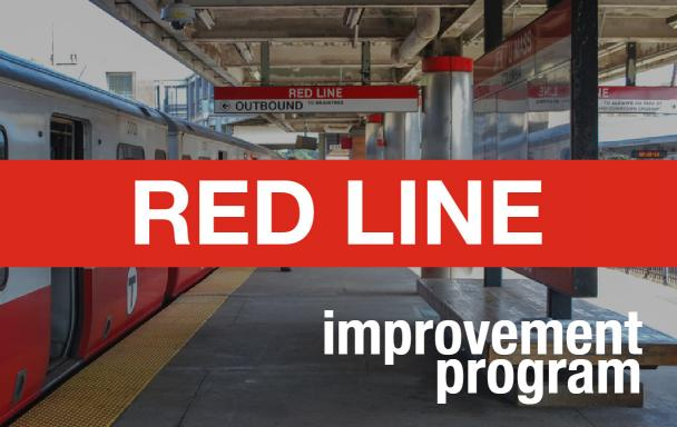 "JFK/UMass station platform as the background, with ""Red Line Improvement Program"" overlaid"