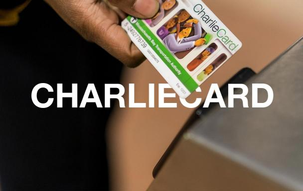 Closeup of a rider about to tap their CharlieCard. Text overlaid: CharlieCard