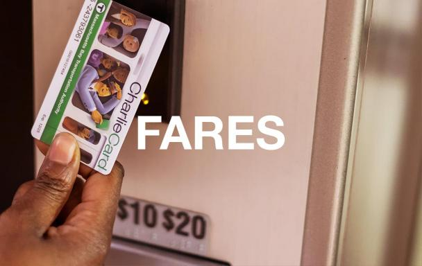 A rider taps a CharlieCard on a fare fending machine. Text overlaid: Fares