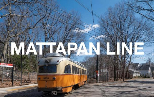 "The Mattapan trolley near Capen Street Station, with text overlaid saying ""Mattapan Line"""