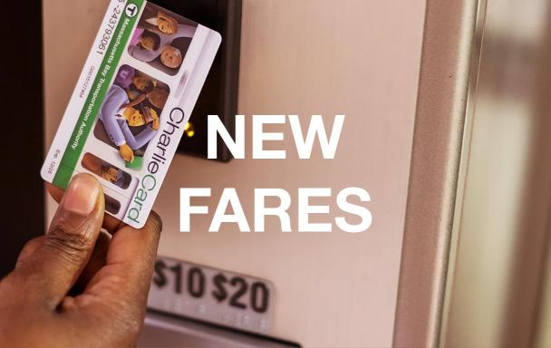 """A woman taps her CharlieCard at a fare vending machine. Text overlaid reads """"New Fares."""""""