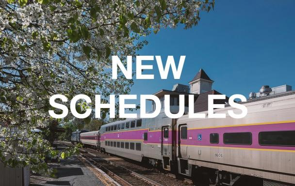 "Commuter Rail train passes by a tree with white flowers. Text overlaid reads ""New Schedules."""