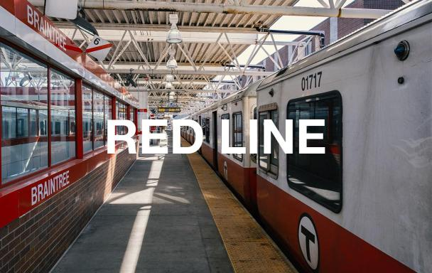 Braintree station platform with a Red Line train. Text overlaid: RED LINE