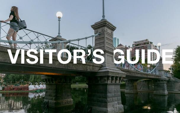"""The bridge in the public garden, with text overlaid, """"Visitor's Guide"""""""