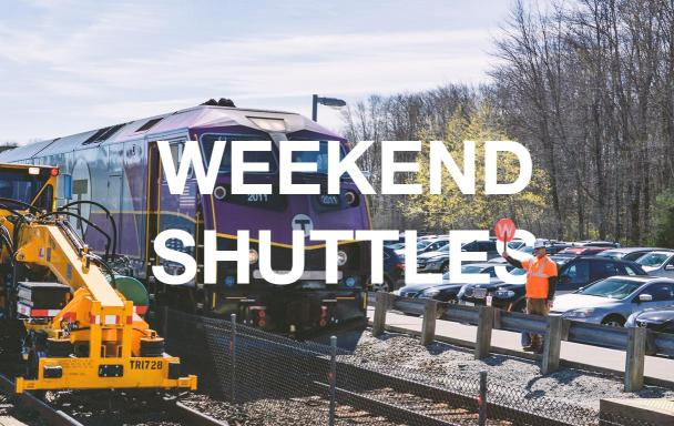Commuter Rail train with construction machinery and a crewman. Text overlaid: Weekend Shuttles