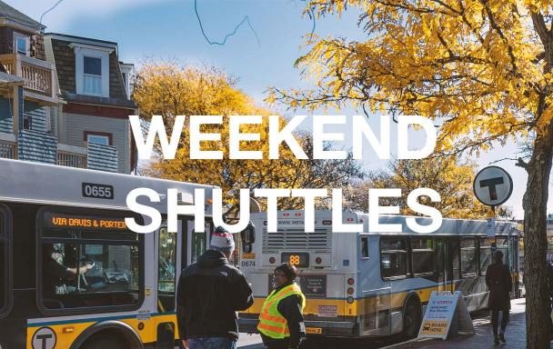 Bus shuttles at Davis Square. Text overlaid: Weekend Shuttles