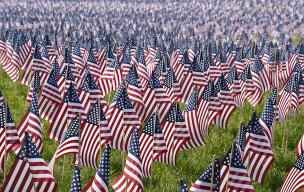 Graveyard with American flags
