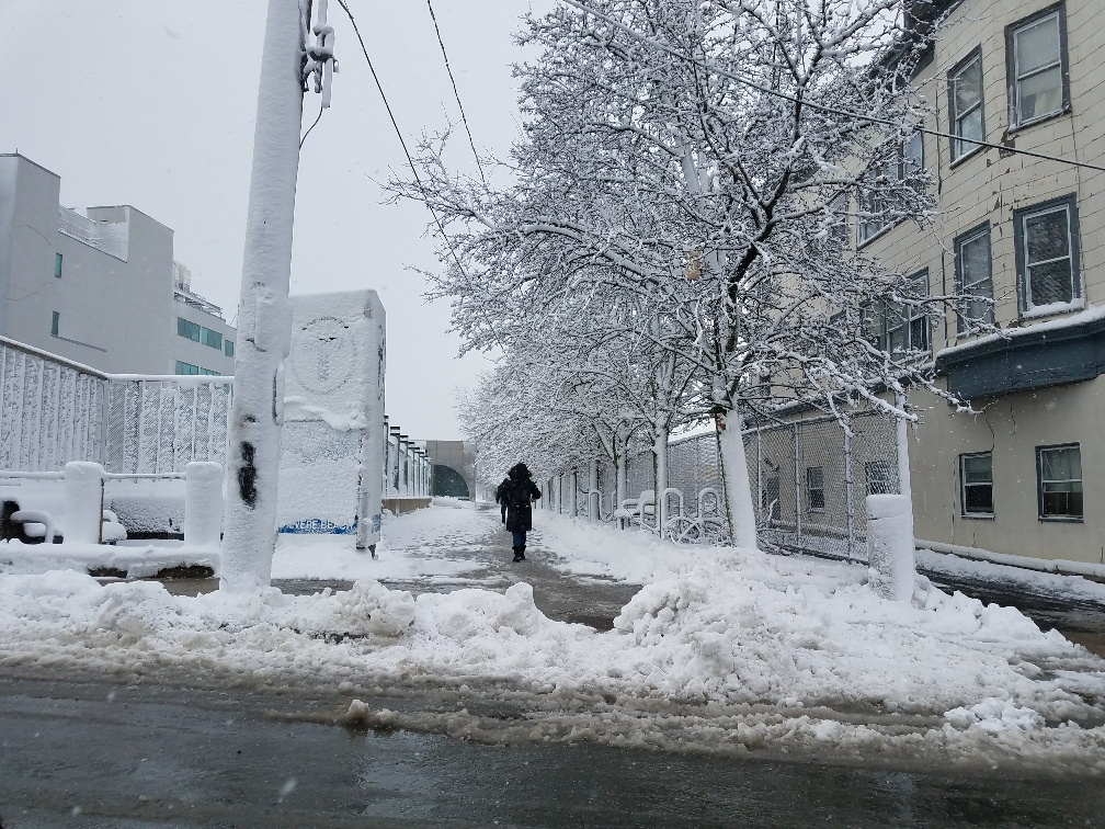 A woman walks outside Revere Beach station on the Blue Line, with snow covering the trees and buildings