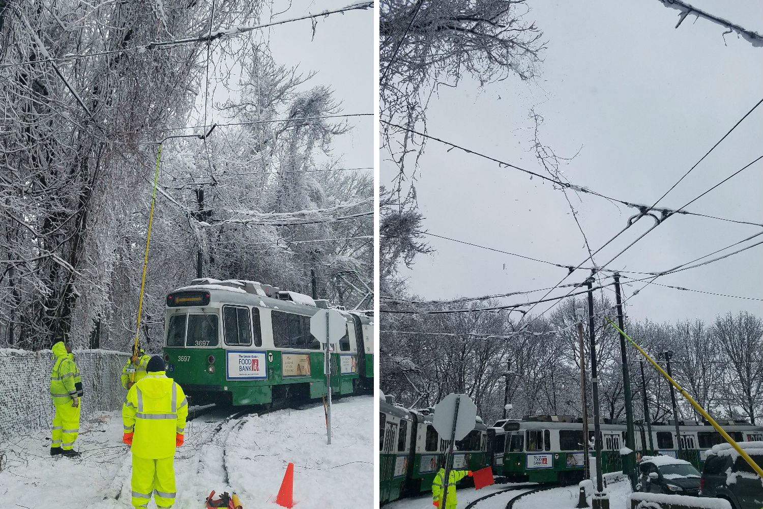 On the left, a crew uses a long pole to dislodge the fallen tree over the Green Line D branch tracks, with a train nearby. On the right, a photo of the overhead wires, now clear of the tree.